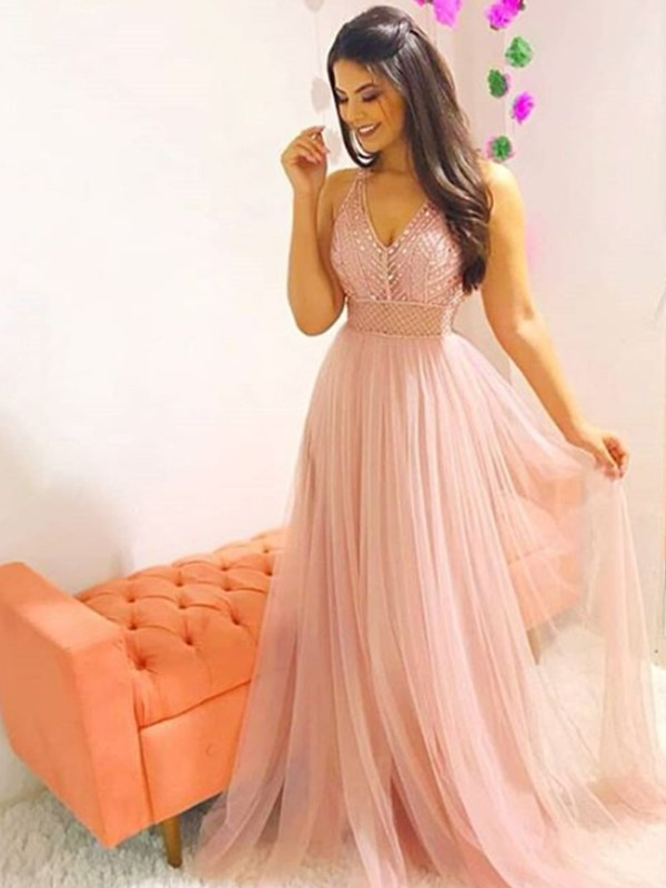 Discount A-Line Sleeveless V-neck Sweep/Brush Train Tulle Dress