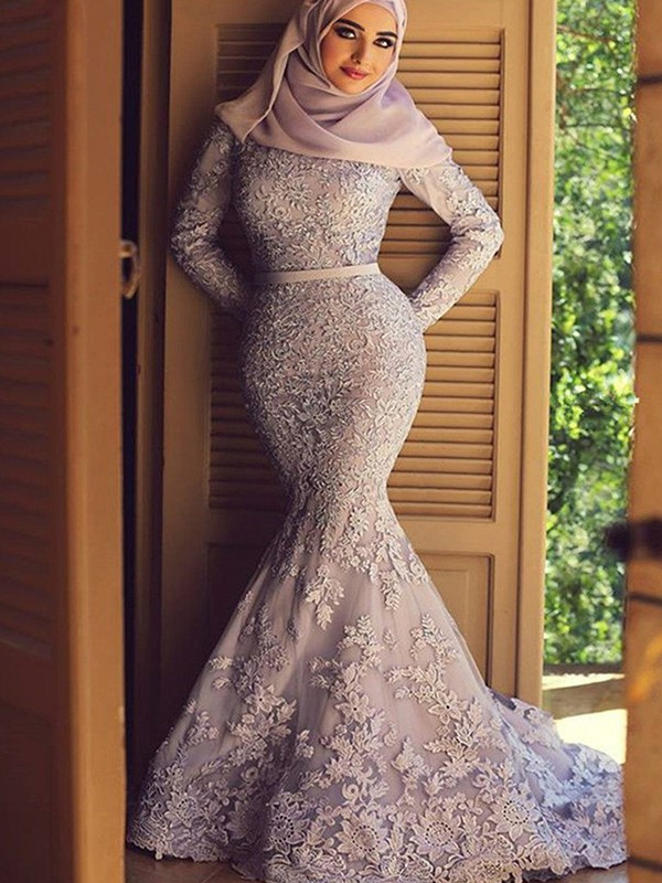 Perfect Mermaid Long Sleeves Scoop Sweep/Brush Train Lace Muslim Dress
