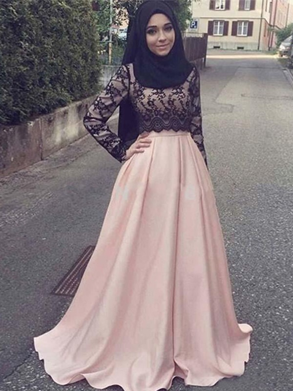 Chic A-Line Long Sleeves Scoop Sweep/Brush Train Satin Muslim Dress