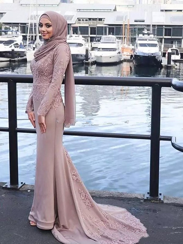 Fashion Mermaid Long Sleeves Scoop Sweep/Brush Train Silk like Satin Muslim Dress