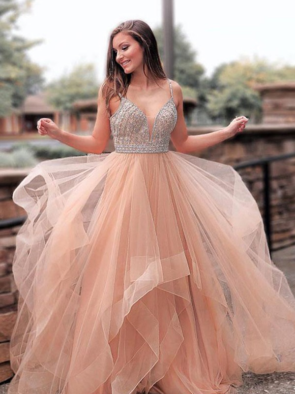 Exquisite A-Line Sleeveless Straps Sweep/Brush Train Tulle Dress