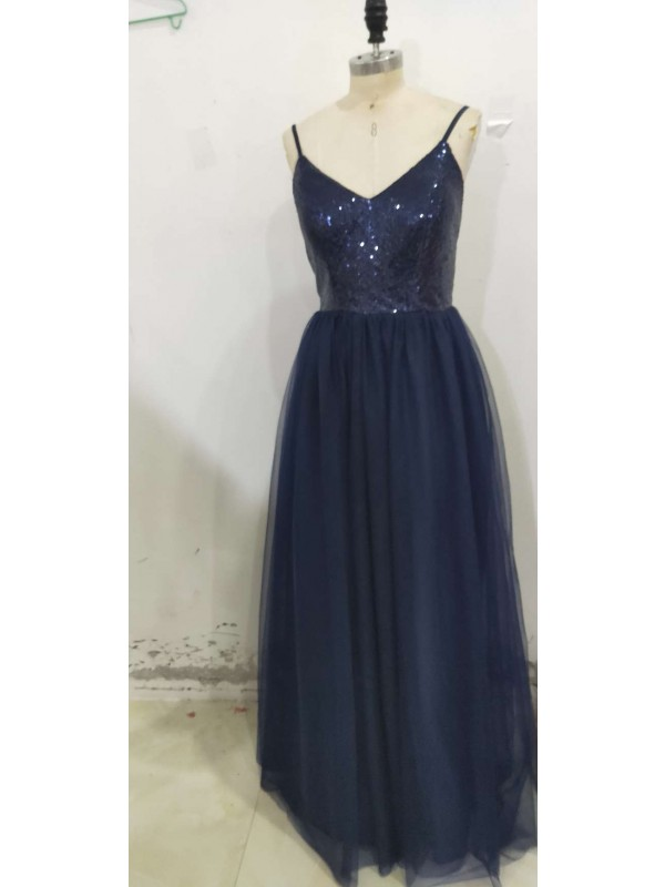 Affordable A-Line Sleeveless Straps Floor-Length Sequin Tulle Dress