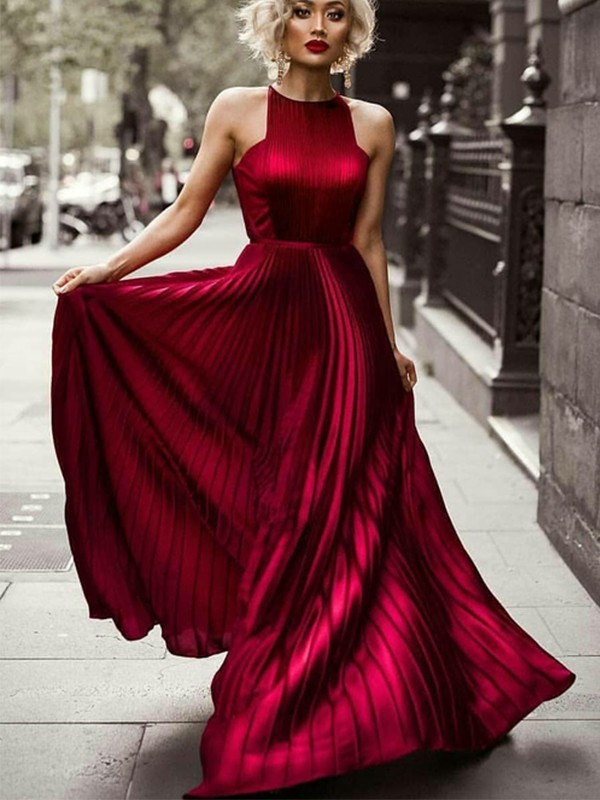 Charming A-Line Halter Sleeveless Floor-Length Silk like Satin Dress