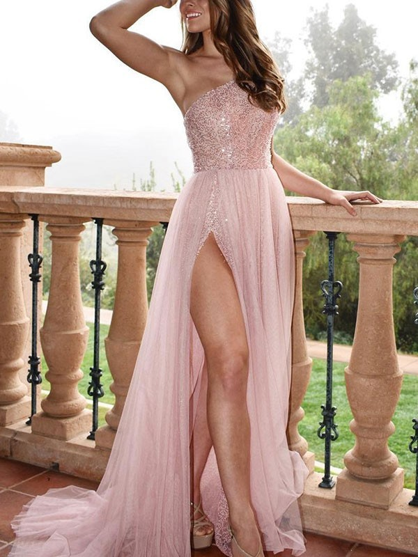 Affordable A-Line Sleeveless One-Shoulder Sweep/Brush Train Tulle Dress