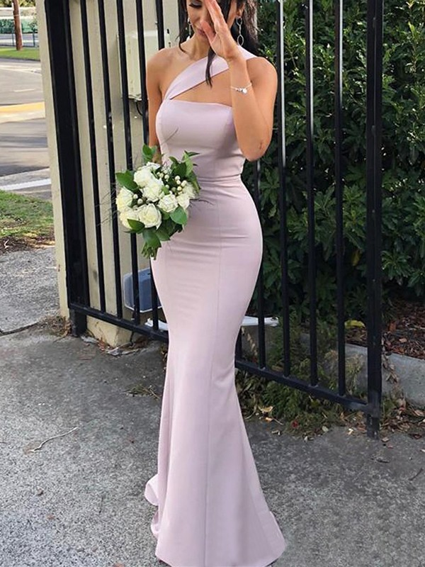 Stylish Sheath Sleeveless One-Shoulder Floor-Length Spandex Bridesmaid Dress