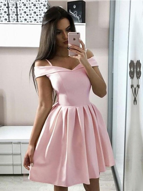 Glamorous A-Line Satin Off-the-Shoulder Sleeveless Short/Mini Dress