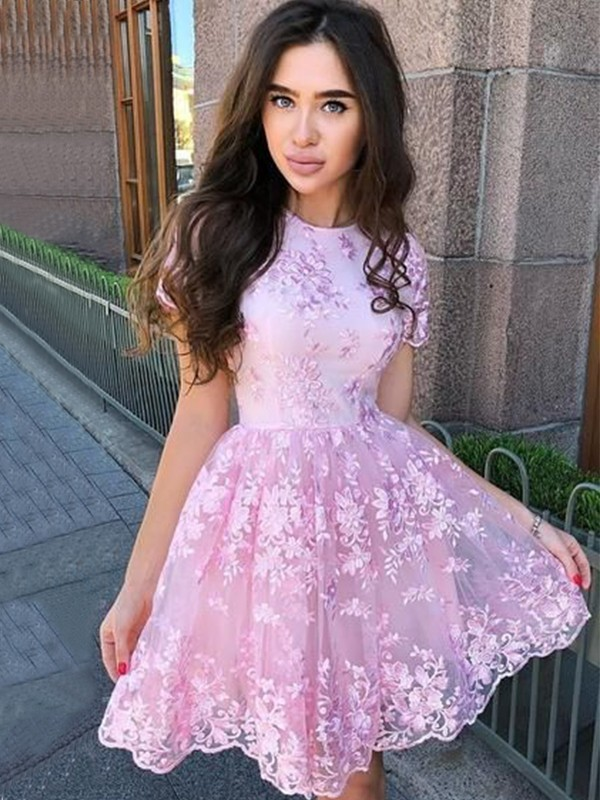 Nice A-Line Organza Sheer Neck Sleeveless Short/Mini Homecoming Dress