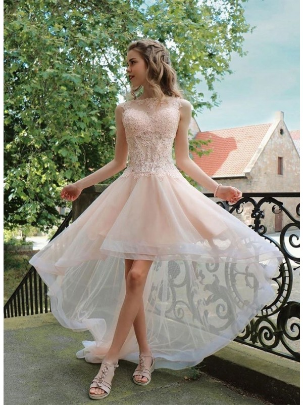 Discount A-Line Tulle Sheer Neck Sleeveless Asymmetrical Homecoming Dress