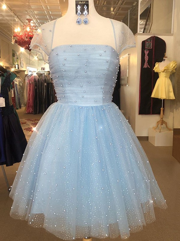 Nice A-Line Tulle Strapless Short Sleeves Short/Mini Homecoming Dress