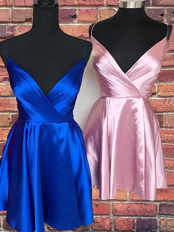Gorgeous A-Line Satin Spaghetti Straps Sleeveless Short/Mini Homecoming Dress