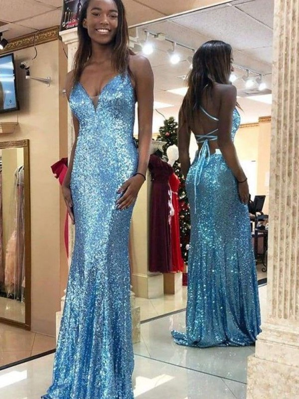 Nice Mermaid Sequins Sleeveless V-neck Sweep/Brush Train Dress
