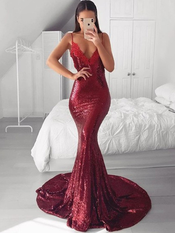 Amazing Mermaid V-neck Sequins Sweep/Brush Train Sleeveless Dress