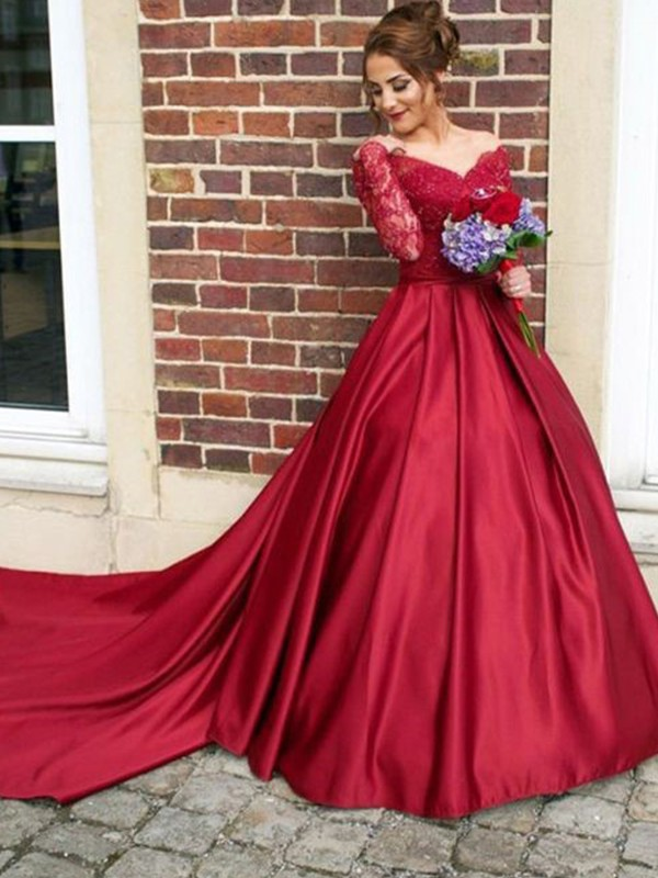 Beautiful A-Line V-neck Long Sleeves Sweep/Brush Train Lace Satin Dress