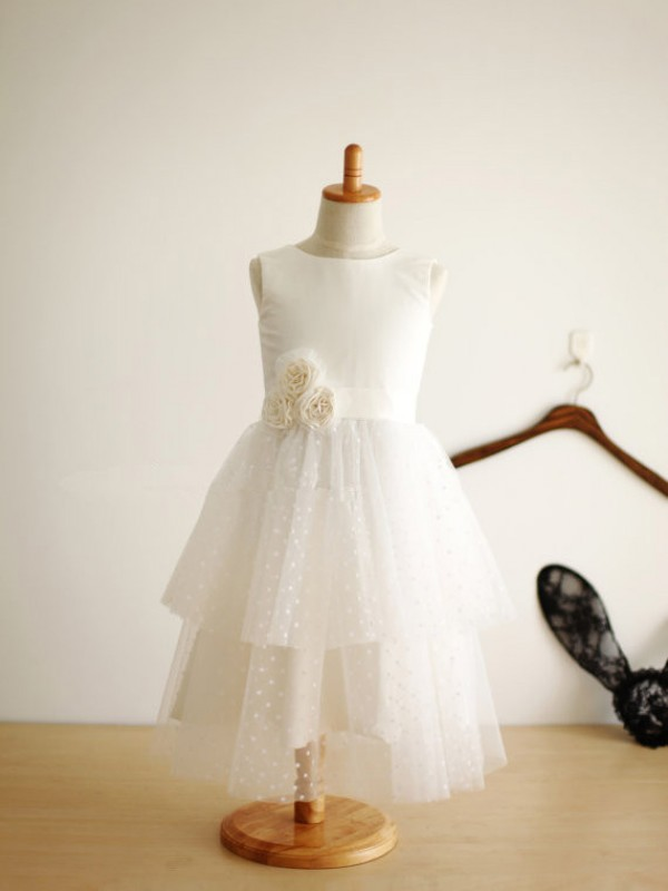 Gorgeous A-line Jewel Tea-length Tulle Flower Girl Dress