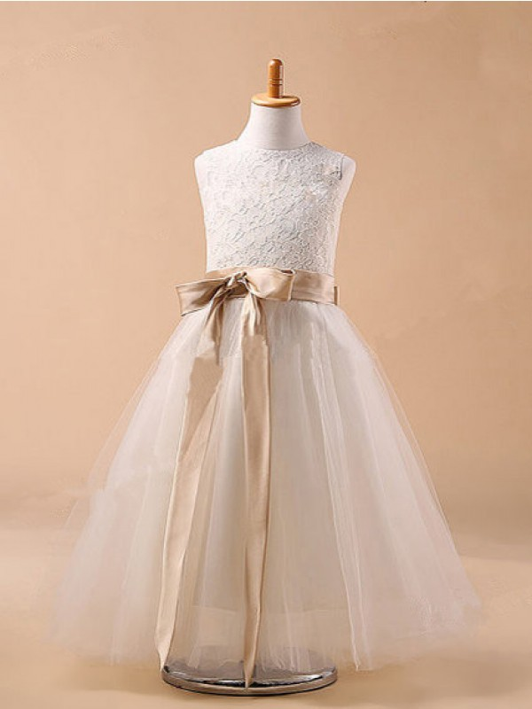 New Ball Gown Jewel Tulle Flower Girl Dress
