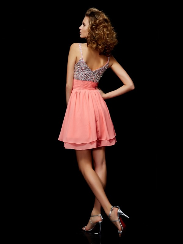 Beautiful A-Line V-neck Sleeveless Short Chiffon Homecoming Dress