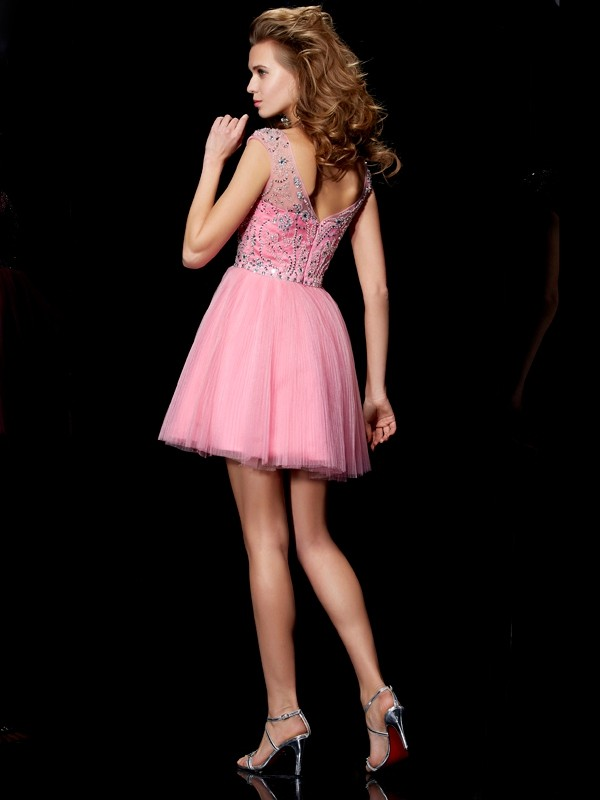 Beautiful A-Line Bateau Sleeveless Short Satin Homecoming Dress