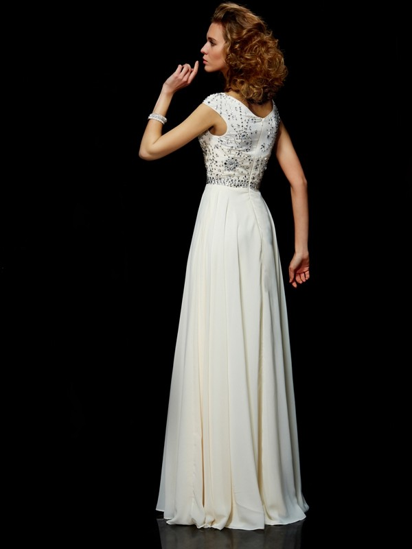 Beautiful Ball Gown High Neck Short Sleeves Long Chiffon Dress