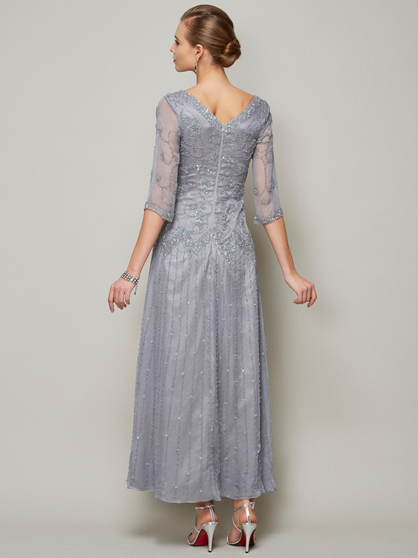 Beautiful Sheath V-neck 1/2 Sleeves Long Elastic Woven Satin Mother of the Bride Dress