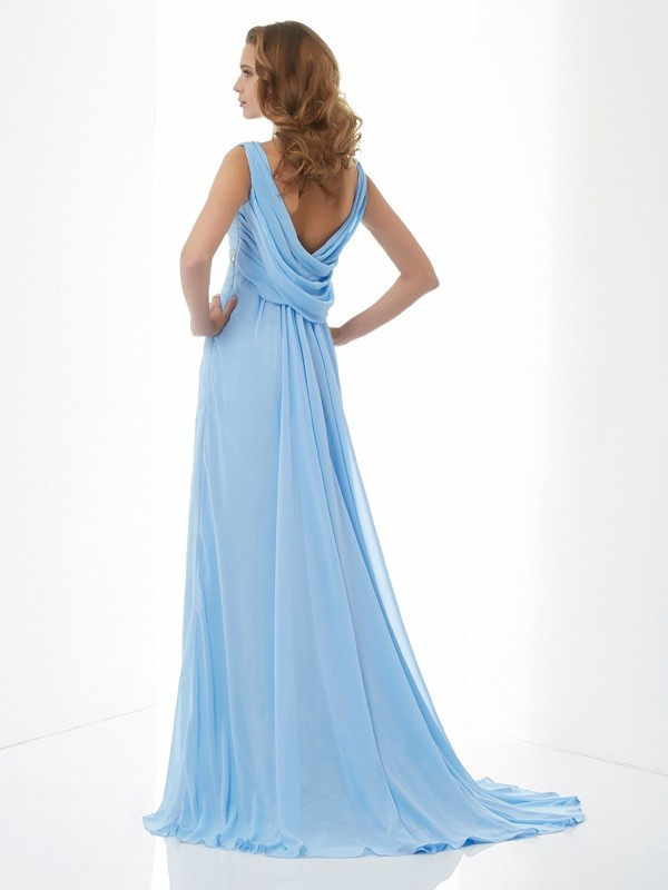 Elegant A-Line Sleeveless Sweetheart Long Chiffon Dress