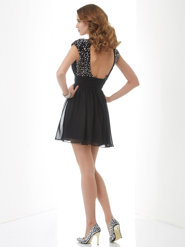 Chic A-Line V-neck Short Sleeves Short Chiffon Homecoming Dress