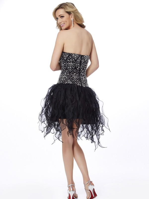 Chic Sheath Sweetheart Sleeveless Short Organza Homecoming Dress