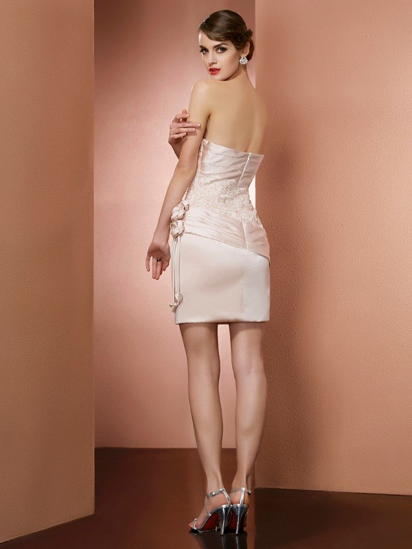 Chic Sheath Strapless Sleeveless Short Satin Homecoming Dress