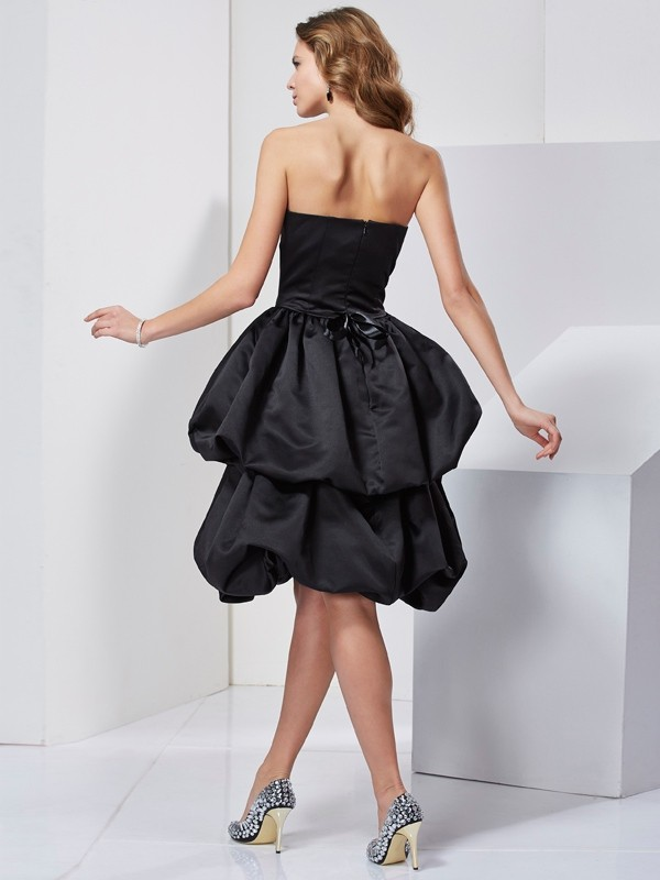 Chic A-Line Strapless Sleeveless Short Satin Bridesmaid Dress