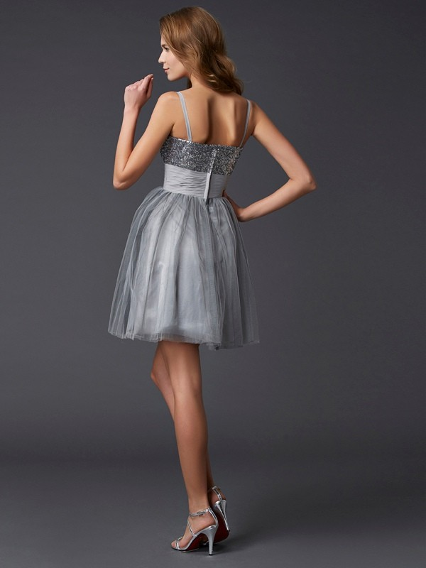 Stylish A-Line Spaghetti Straps Sleeveless Short Organza Homecoming Dress