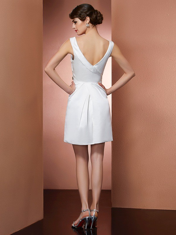 Stylish A-Line Straps Sleeveless Short Satin Bridesmaid Dress
