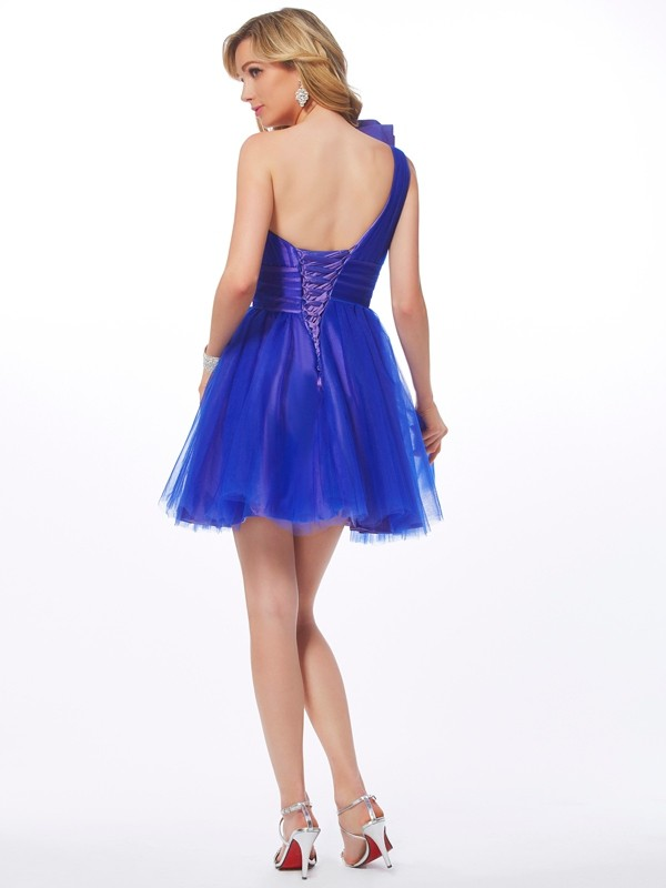 Fashion A-Line One-Shoulder Sleeveless Short Net Homecoming Dress