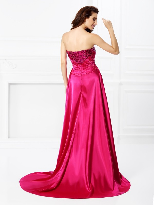 Fashion A-Line Sweetheart Sleeveless High Low Elastic Woven Satin Dress