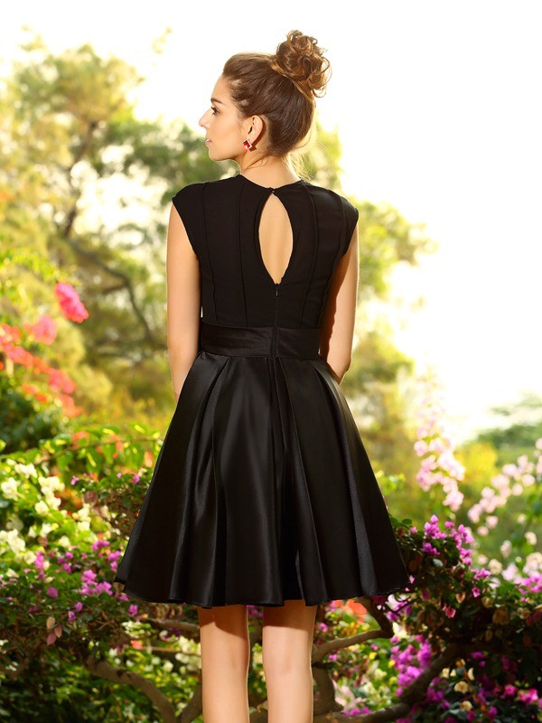 Exquisite A-Line High Neck Sleeveless Short Satin Bridesmaid Dress