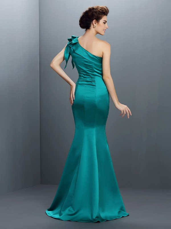Exquisite Mermaid One-Shoulder Sleeveless Long Satin Dress