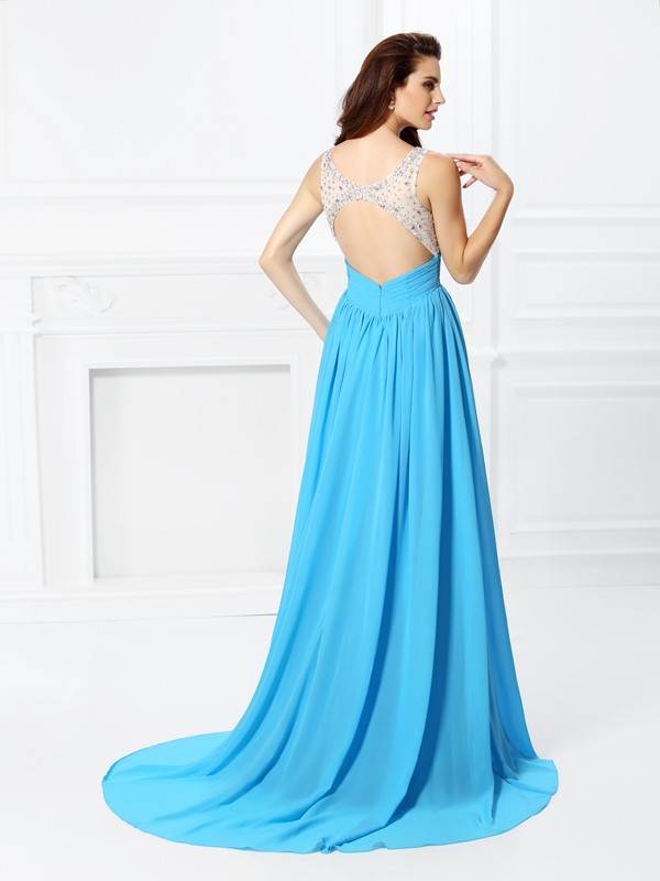 Exquisite A-Line Bateau Sleeveless Long Chiffon Dress