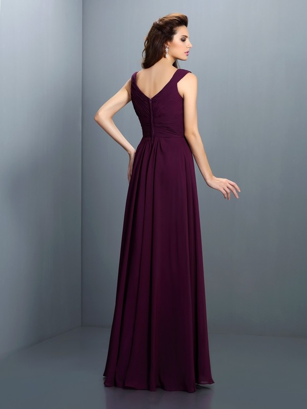 Charming A-Line V-neck Sleeveless Long Chiffon Bridesmaid Dress