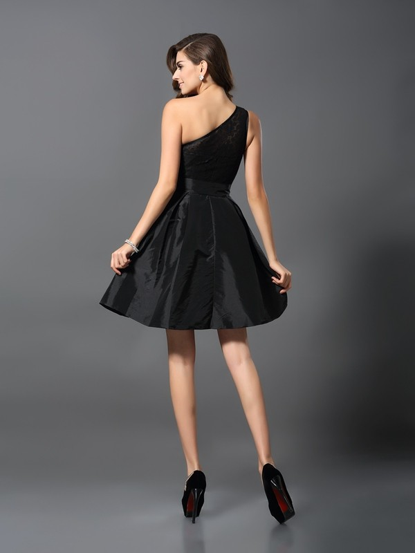 Charming A-Line One-Shoulder Sleeveless Short Taffeta Bridesmaid Dress