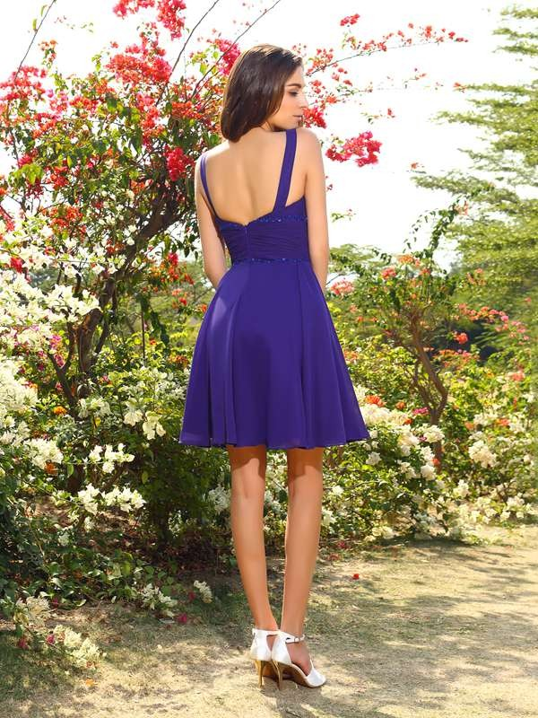 Charming A-Line V-neck Sleeveless Short Chiffon Bridesmaid Dress