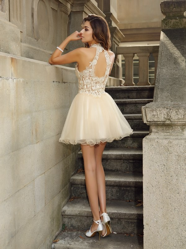 Classical A-Line High Neck Sleeveless Short Tulle Cocktail Dress