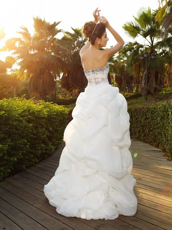 Gorgeous A-Line Sweetheart Sleeveless High Low Organza Wedding Dress