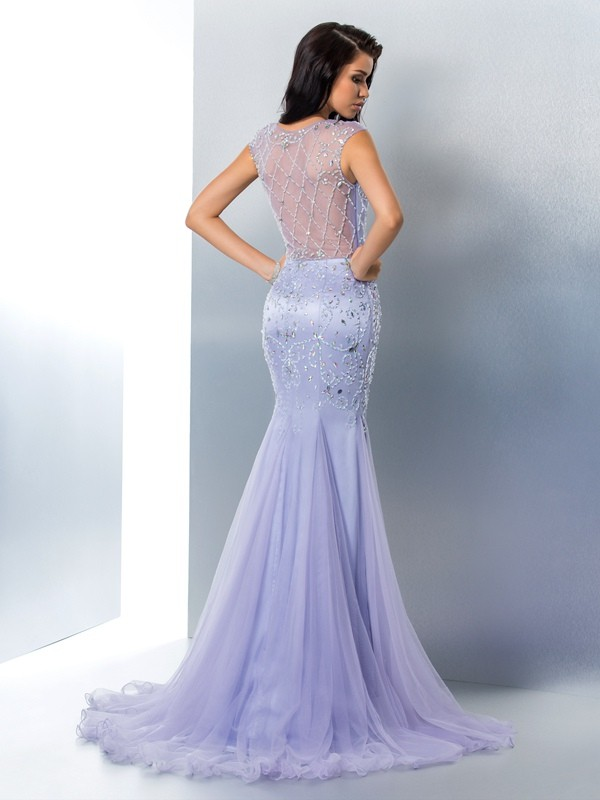 Nice Mermaid Sheer Neck Sleeveless Long Satin Dress