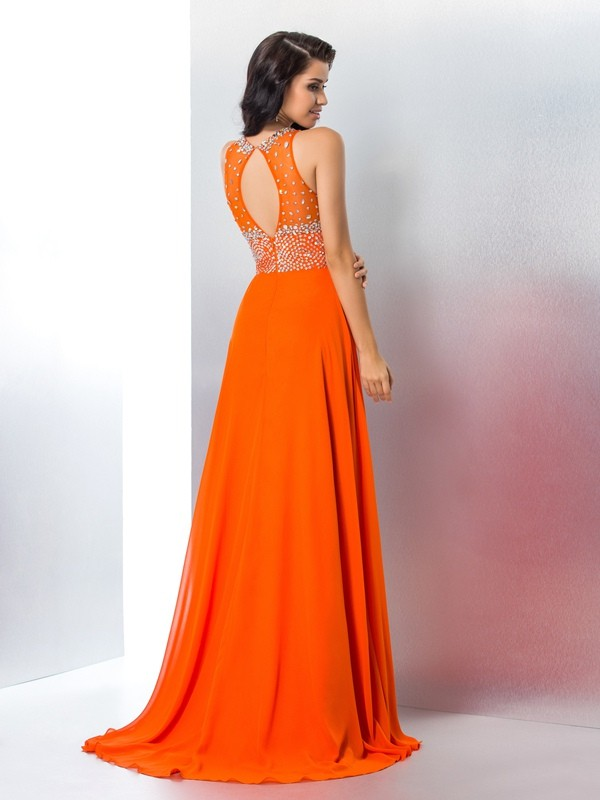 Nice Mermaid Scoop Sleeveless Long Chiffon Dress