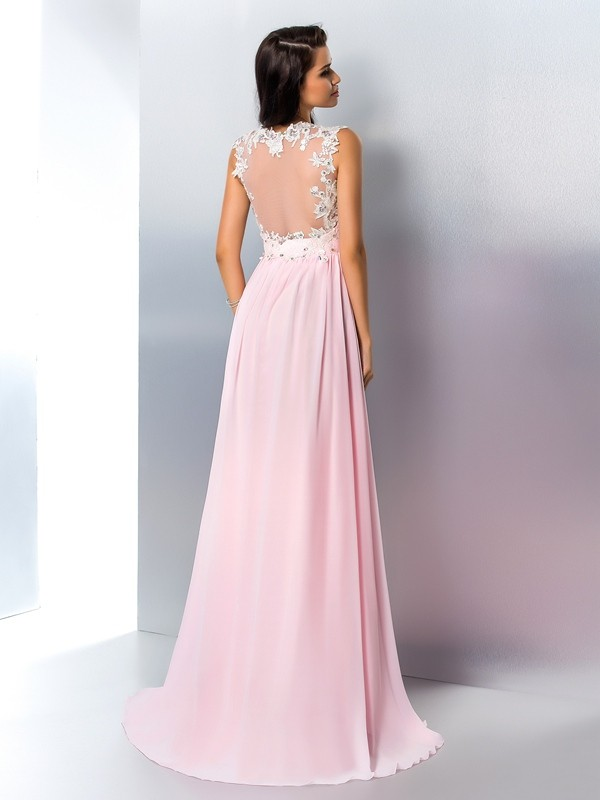Nice A-Line V-neck Sleeveless Long Chiffon Dress