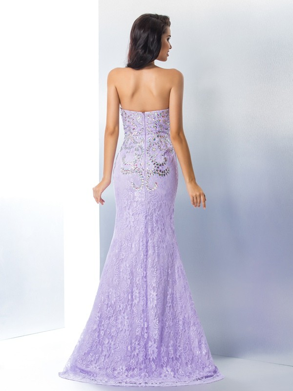 Nice Mermaid Sweetheart Sleeveless Long Lace Dress