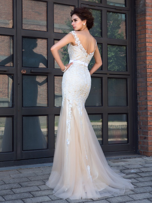 Nice Mermaid Sheer Neck Short Sleeves Long Net Dress