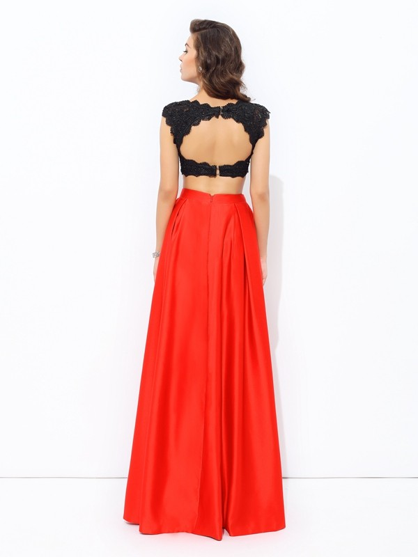 Nice A-Line Scoop Lace Sleeveless Long Satin Two Piece Dress