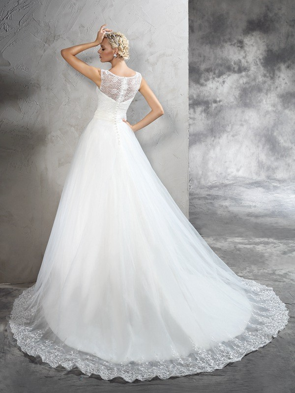 Nice Ball Gown Sheer Neck Sleeveless Long Net Wedding Dress