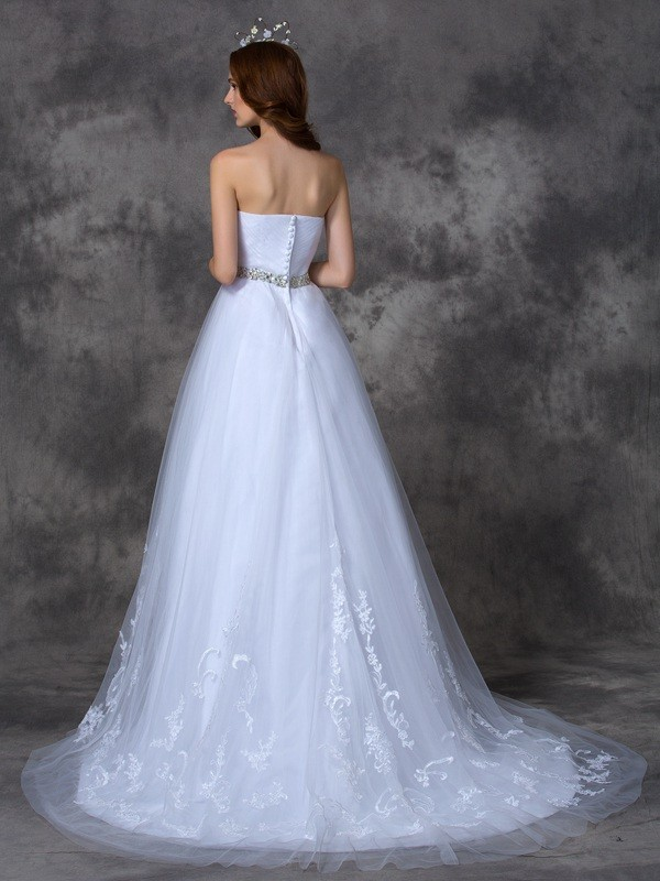Nice A-Line Sweetheart Sleeveless Long Satin Wedding Dress