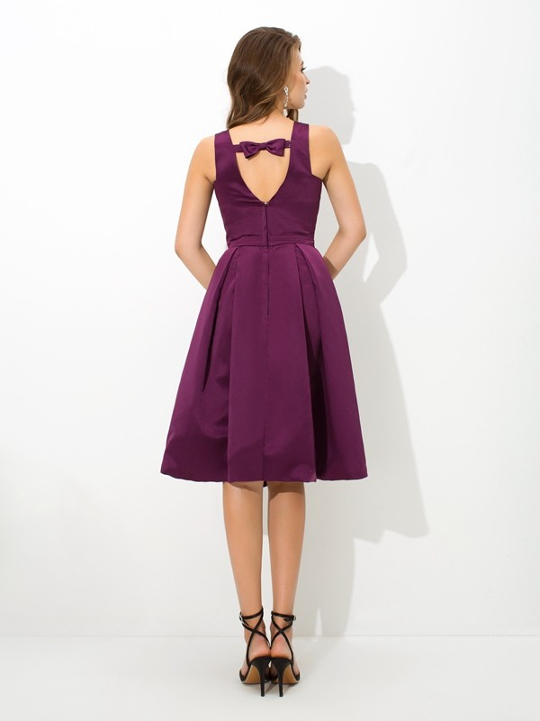 Nice A-Line Square Sleeveless Short Satin Bridesmaid Dress