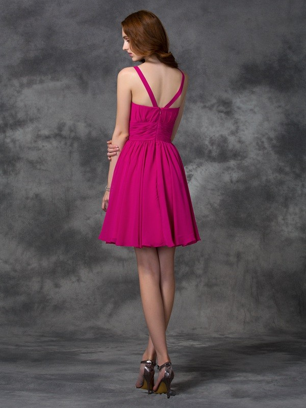 Nice A-Line Square Sleeveless Short Chiffon Bridesmaid Dress